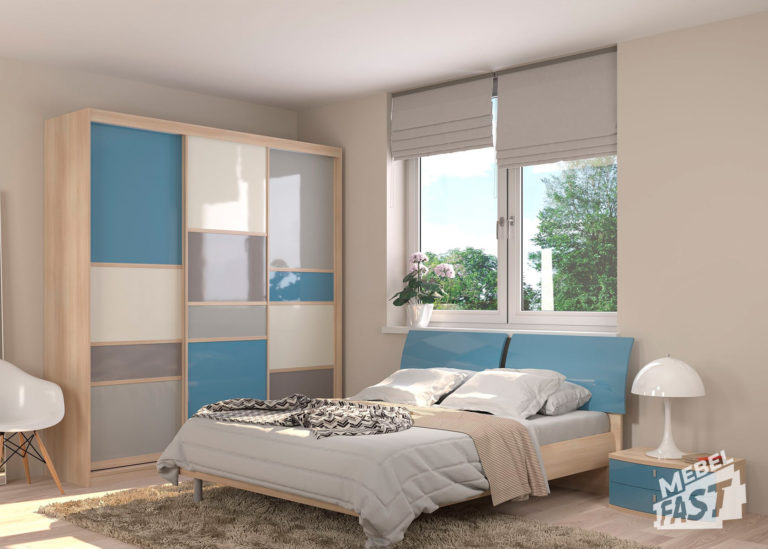 Бежево-голубая спальня 03
