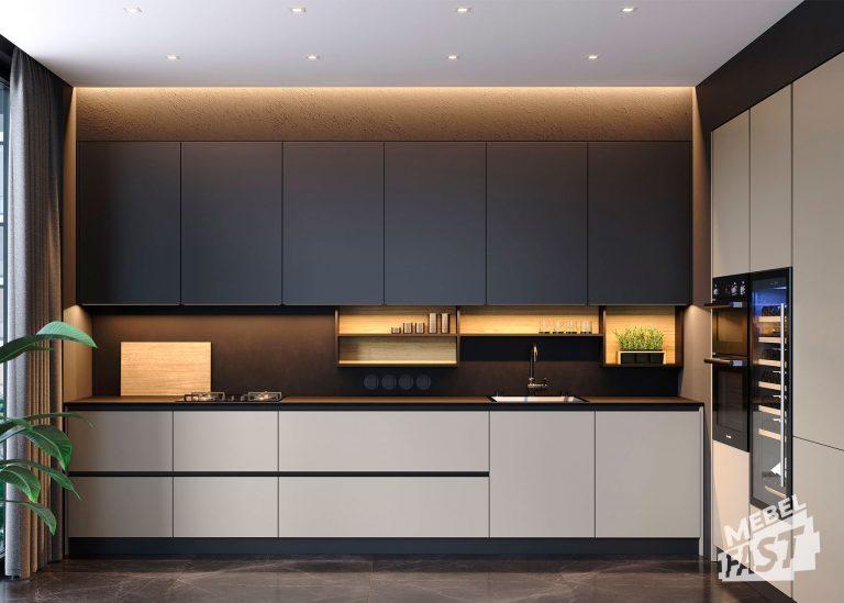 Стильная кухня с алюминиевым профилем 23