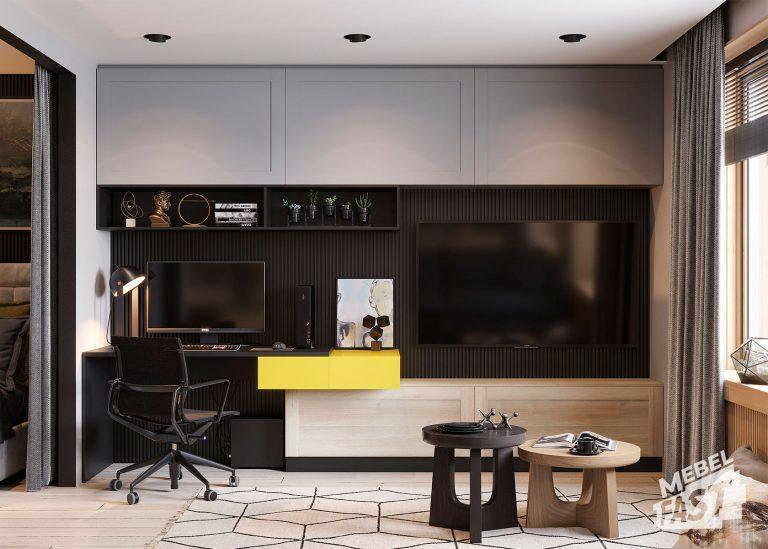 Гостиная с ТВ-зоной и рабочим местом
