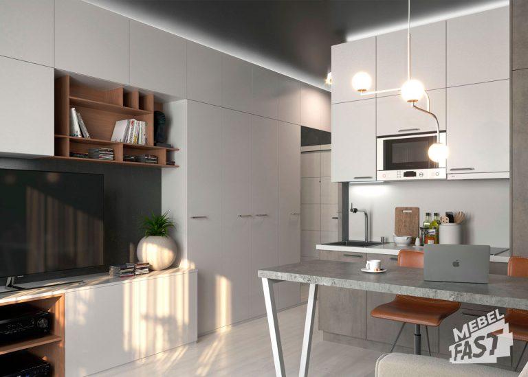 Гостиная совмещенная с кухней в светлых тонах