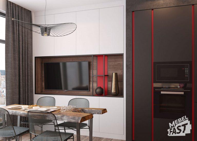 Гостиная с кухней в стиле хай-тек