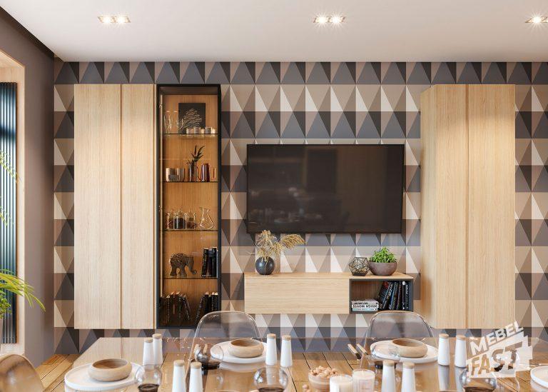 Гостиная с ТВ совмещенная с кухней